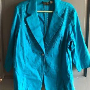 Bob Mackie Turquoise Embellished Blazer